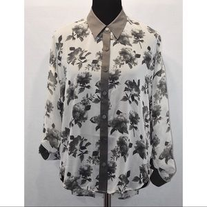 Blu Pepper Collared Floral Blouse White/gray Sz M